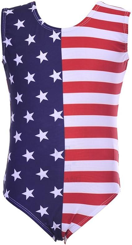 KAYI Girl Gymnastics Leotard American Flag Striped Stars Sleeveless One Piece Kid Dance Wear