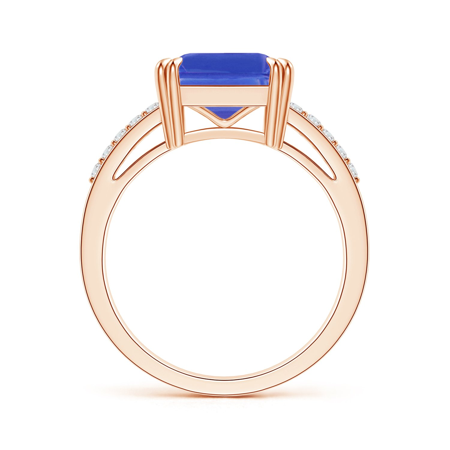 Holiday Offer - December Birthstone - Claw Set Emerald Cut Tanzanite Ring for Women with Diamond Accents in 14K Rose Gold (9mm Tanzanite) by Angara.com (Image #2)