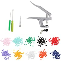 Baoblaze 150 Sets T5 Plastic Press Buttons Studs with Alloy Fastener Snap Pliers Kit
