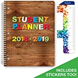 """Dated Elementary Student Planner for Academic Year 2018-2019 (Block Style - 8.5""""x11"""" - Wood Letters Cover) - Bonus Ruler/Bookmark and Planning Stickers"""