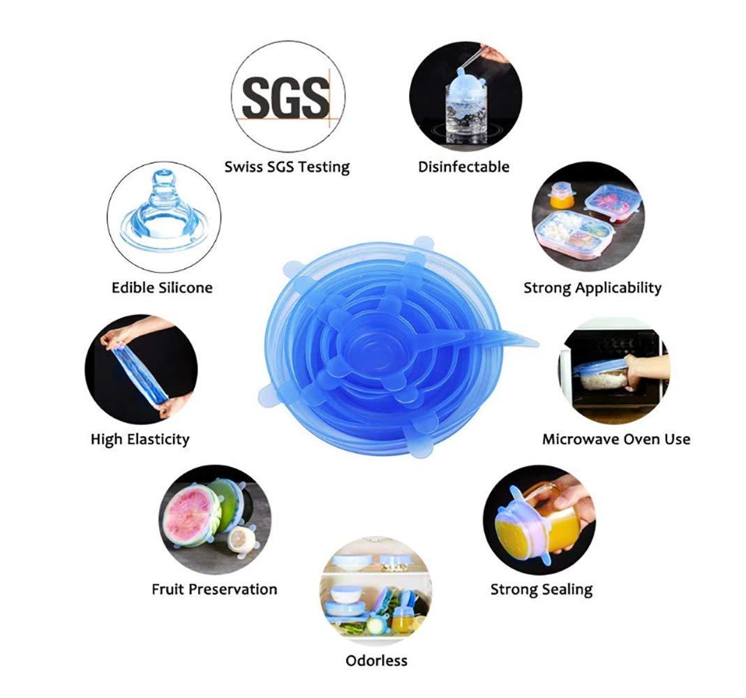 Shuny 6 St/ück Dehnbare Silikondeckel,Silikondeckel in Verschiedenen Gr/ö/ßen Silikon Stretch,Silikon Stretch Deckel Stretch Lid Silikon Abdeckung Wiederverwendbar Dauerhaft Blue