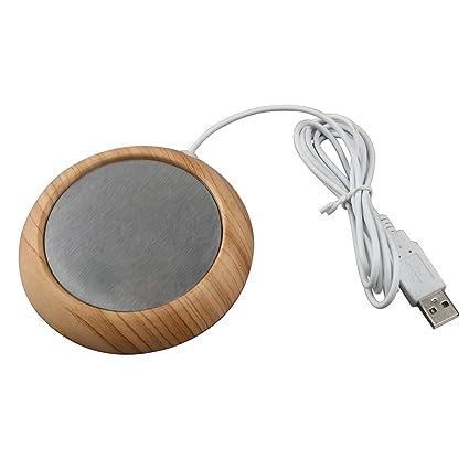 Posavasos calentador eléctrico con USB, hecho de grano de madera, ideal para