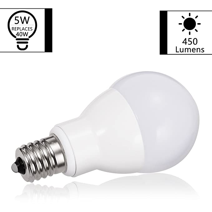 JandCase E17 Globe Light Bulbs, 40W Equivalent, 5W, 450 Lumens, Daylight White 5000K, Slender G14 LED Bulbs for Ceiling Fan, Headboard Reading Light, ...