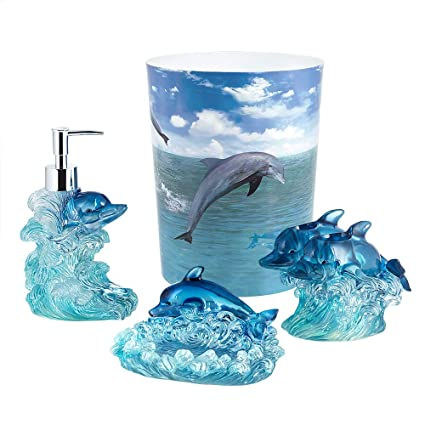 Amazing Allure Home Creations Dolphin Jump For Joy 4 Piece Bathroom Accessory Set   1 Lotion