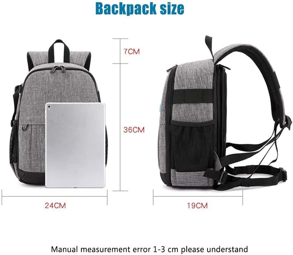 24 X 19 X 36CM Versatile Zhengtufuzhuang Grey Multi-Functional Casual Camera Backpack Large Capacity Oxford Outdoor Travel Camera Backpack Removable Clapboard