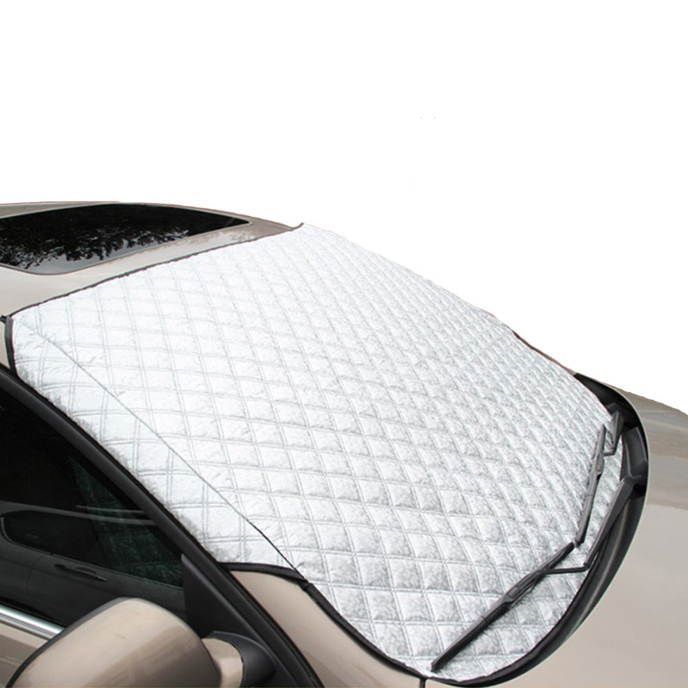 MAX-ELF Car Sunshade Windshield Snow Cover Window Sun Shade for Truck Van SUV Visor Keeps Vehicle Cool- Sliver (57.87 x 39.37 Inch) DREILO