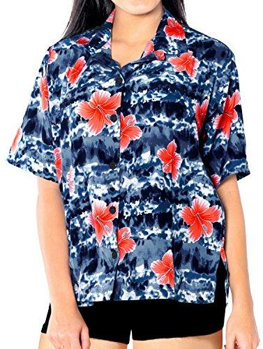 Donne Luau Vestito Top Nero x27 Partito gi Donne Hawaiano Pulsante Brevi Spiaggia Giornata Maniche Insabbiamento prApwCqxnR