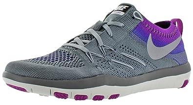 Nike Free Tr Flyknit Des Femmes De Formateurs De La Croix Pourpre  / Pierres Noires