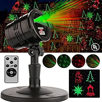 Halloween LED Laser Light, Indoor Outdoor Projector Lights with Remote Control, Waterproof 4 Patterns Red and Green Laser Light Show Landscape Garden Spotlight For Christmas Holiday Party Decoration