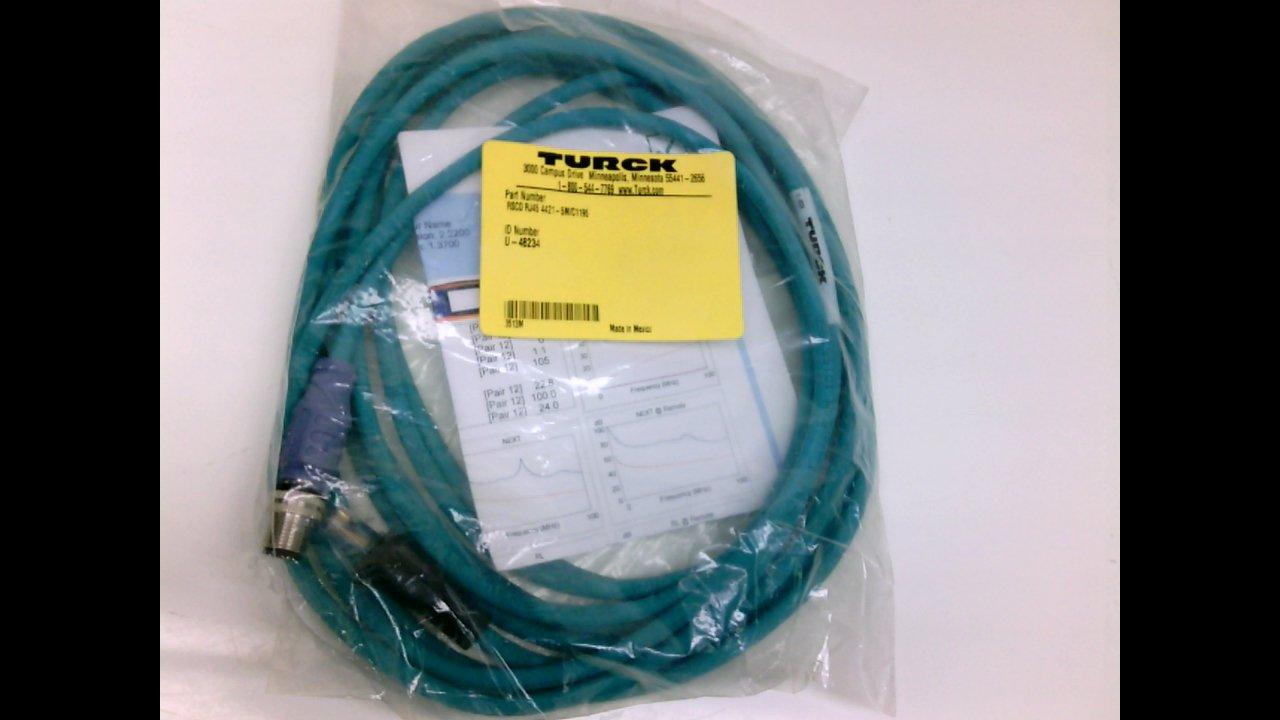 Turck Rscd Rj45 4421-5M/C1195, Cordset 4P Male St To Ethernet End 5M ...