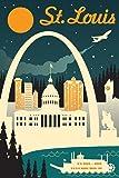 St. Louis, Missouri - Retro Skyline (12x18 Art Print, Wall Decor Travel Poster)