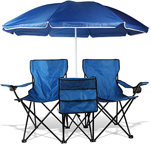 BIGTREE Chair Double Folding Removable Shade Umbrella Cooler Ice Chest Cup Holder Patio Blue