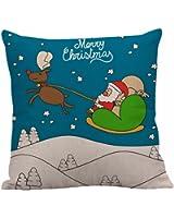 Cuscino di Christmas, Longra Coperture del cuscino del lino di 45cmX45cm di natale