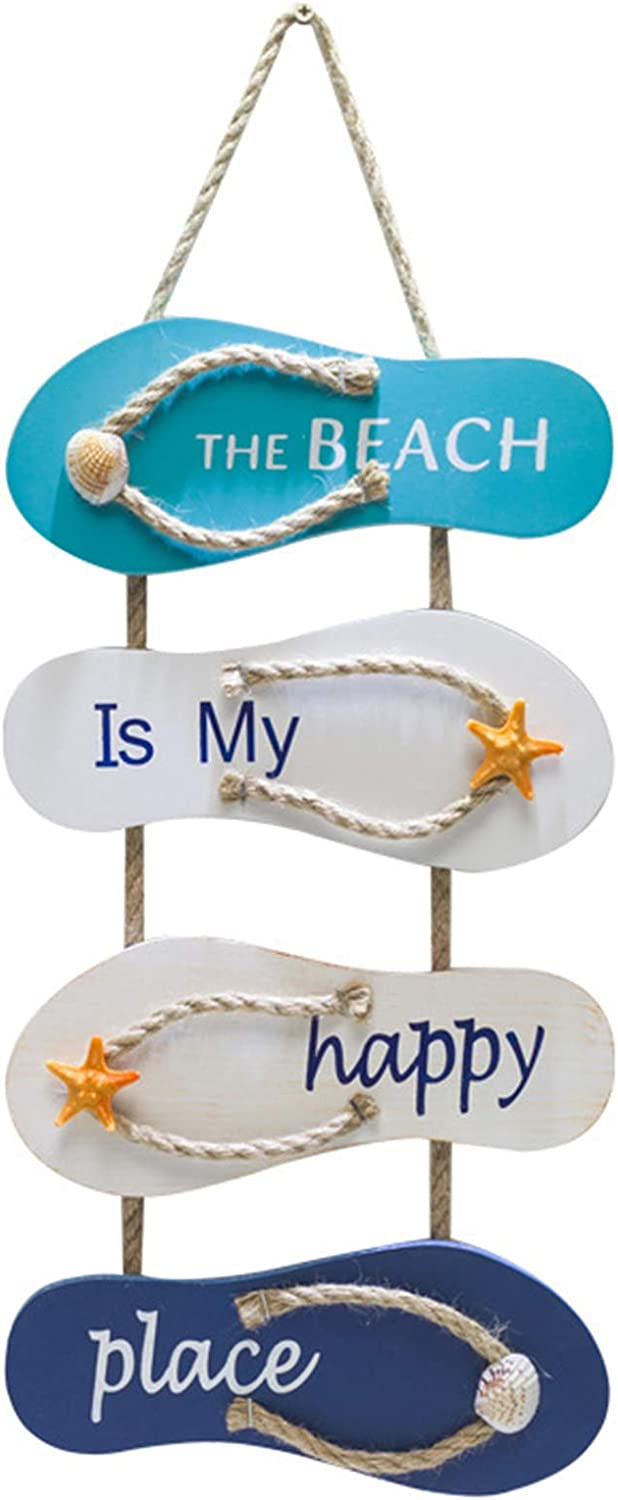Wooden Wall Decorative Sign Wood Plaque,Wall Ornament Hanging Wooden Slippers Decoration,Beach Flip Flop Decoration Flip Flop (the beach is my happy place)