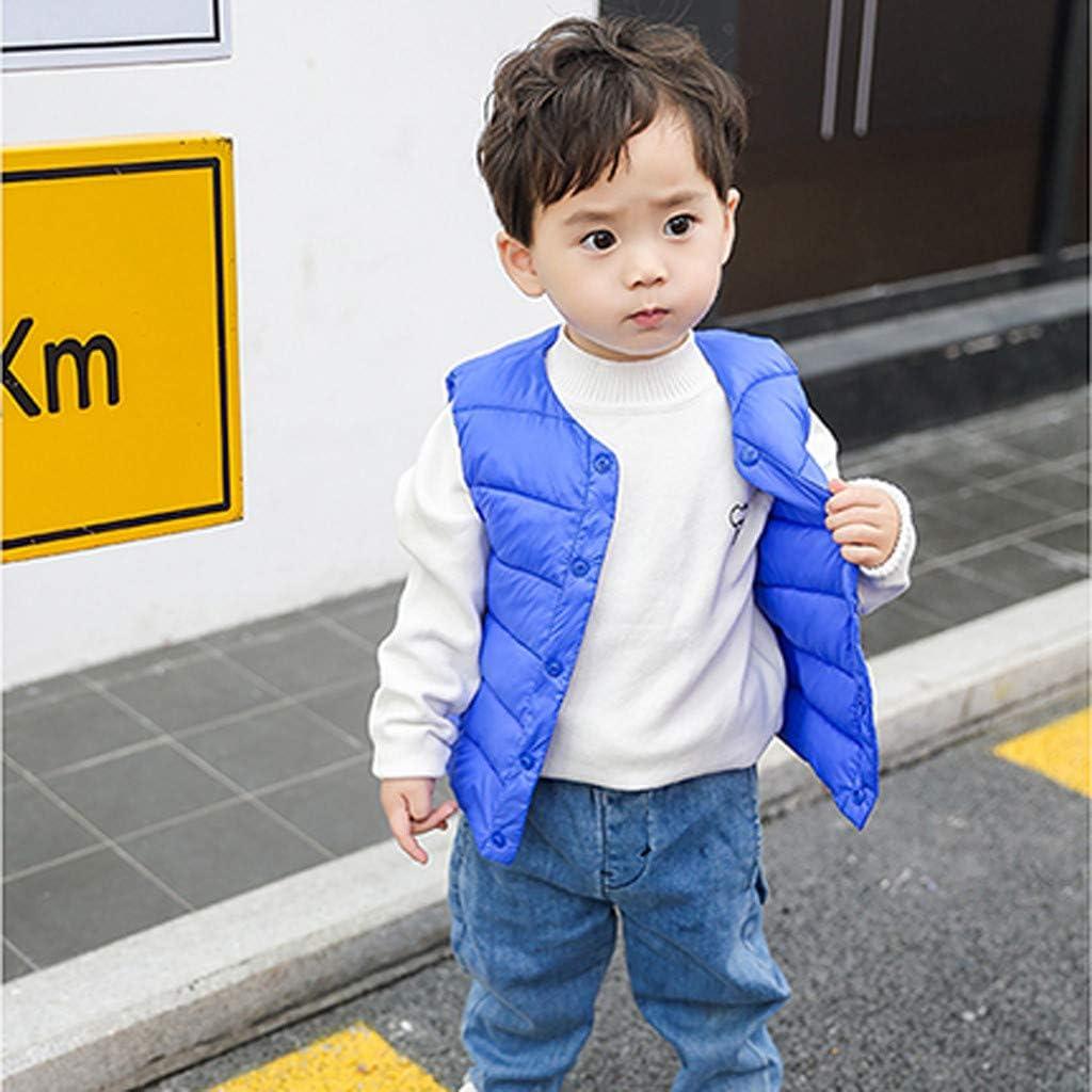 wuayi Kids Gilet Baby Girls Boys Sleeveless Solid Color Outerwear Warmer Jackets Winter Vest Coat Waistcoat