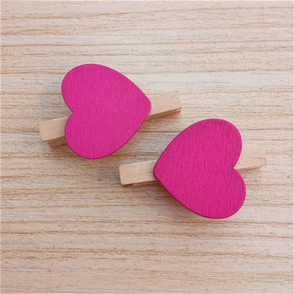 Aobiny 10PCS Mini Love Heart Colored Wooden Heart Clothespins Photo Craft Clips for Wedding Party Decor - Wooden Clothes Photo Paper Peg Pin Clothespin Craft Clips (Hot Pink)