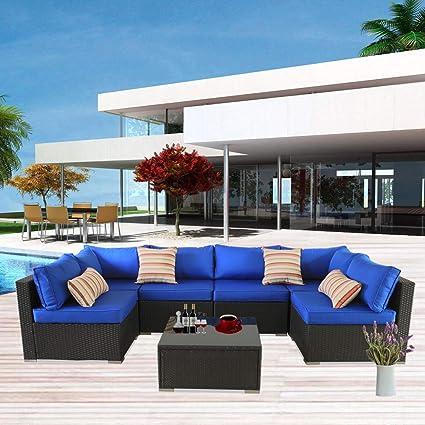 Marvelous Patio Furniture Sofa Outside Couch Pe Black Wicker 7Pcs Garden Sectional Rattan Sofa Set Conversation Sets Party Sofa Royal Blue Cushion Home Interior And Landscaping Ponolsignezvosmurscom