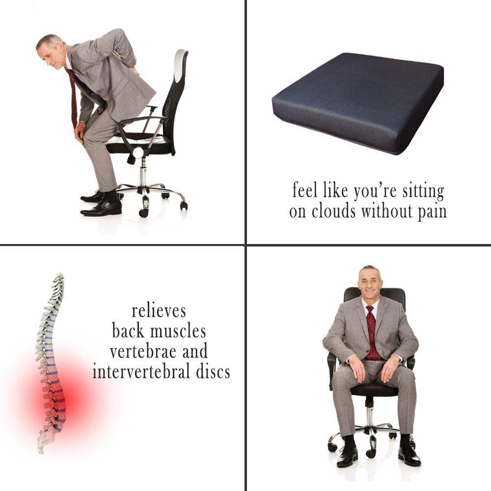 Salosan Cojín de Visco Memory Gel liberar presión en la Espalda, coxis y Discos intervertebrales