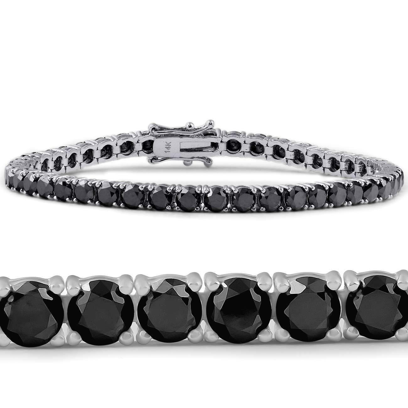 11 1/2 Ct Black Diamond Tennis Bracelet 14k White Gold 7
