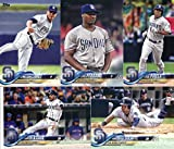 2018 Topps San Diego Padres Team Set of 8 Baseball Cards (Series 1): Hunter Renfroe(#29), Brad Hand(#52), Dinelson Lamet(#97), Wil Myers(#102), Luis Perdomo(#186), Yangervis Solarte(#246), Jose Pirela(#284), Carlos Asuaje(#312)