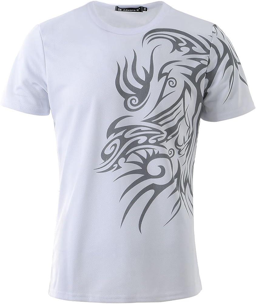 Allegra K Camiseta Casual Para Hombres De Cuello Redondo Manga Corta Ajuste Delgado Impresión De Tribal - Blanco/M (US 40, EU 50): Amazon.es: Ropa y accesorios