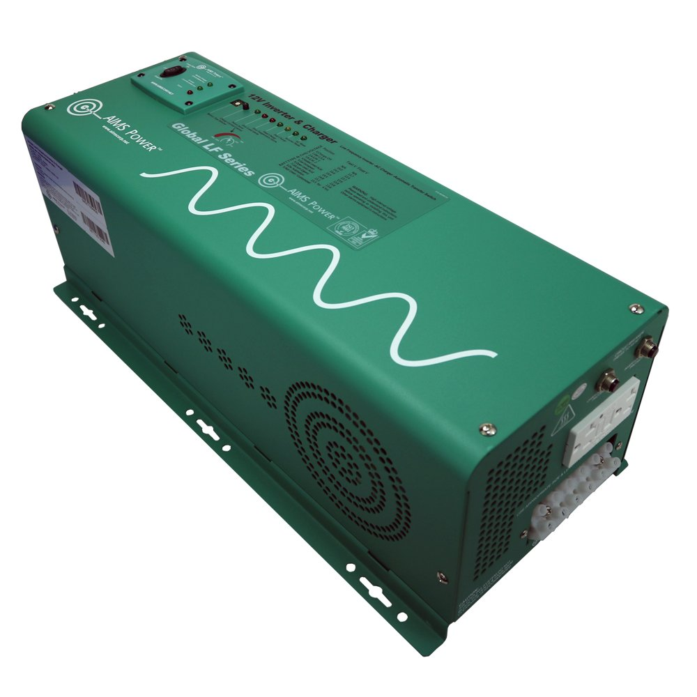 Aims Power PICOGLF25W12V120AL Green 2500 Watt 12VDC to 120VAC Power Inverter Charger with Transfer Switch
