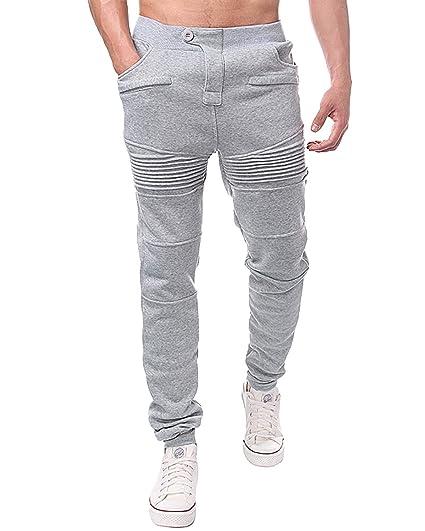 MODCHOK Homme Pantalon Jogging Sarouel Survêtement Sweat Pants Sport Longue  Slim Fit Gris Clair 3XL e8afd745f55
