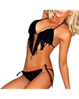 LKOUS Women Sexy Two-piece Bikini Swimsuit Beachwear Fringed Suit Temptation