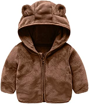 6-12 Months, Brown Baby Boys Girls Warm Outwear Clothes,Winter Soft Warm Dinosaur Print Sweater Coat