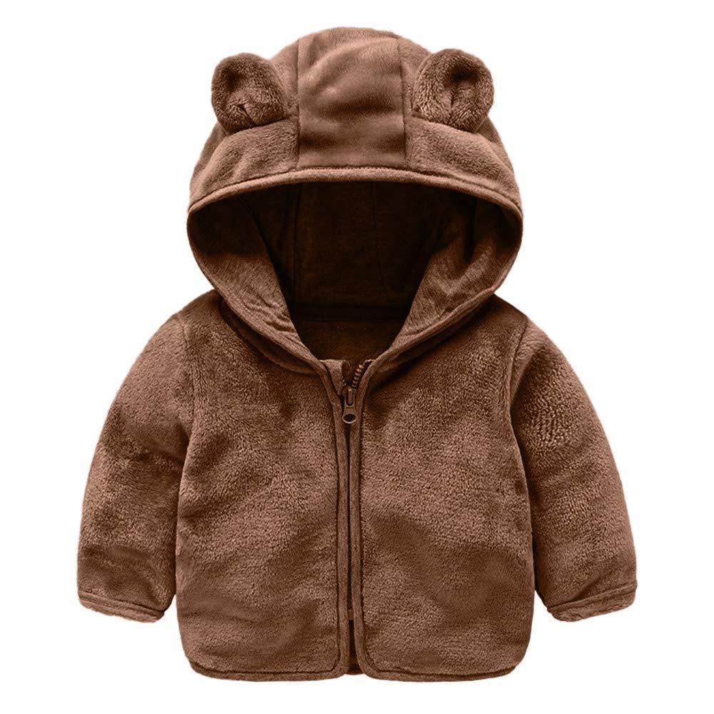 EnjoCho 6M-4Y 2018 Autumn Children Baby Kids Boys Girls Long Sleeve Cartoon Cute Ear Hooded Sweatshirts Kids Zipper Outwear Coats Age:12-18 Months, Brown