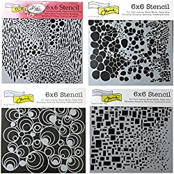 4 Crafters Workshop Mixed Media Stencils Set | for Arts, Card Making, Journaling, Scrapbooking | 6 inch x 6 inch Templates | Cell Theory, Mod Spirals, Cubist, Sea Bubbles