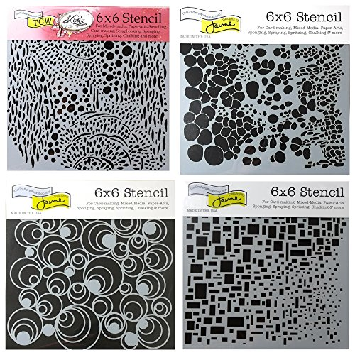 Workshop Crafters - 4 Crafters Workshop Mixed Media Stencils Set | for Arts, Card Making, Journaling, Scrapbooking | 6 inch x 6 inch Templates | Cell Theory, Mod Spirals, Cubist, Sea Bubbles