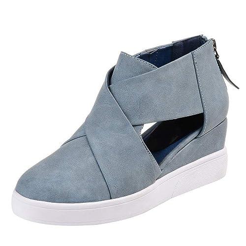 Zapatos de cuña Zapatos de Vestir Ayuda para Mujer Otoño Invierno Moda 2018 PAOLIAN Calzado de Cuero Nobuk Plataforma Hueco Señora Casual Cómodos Zapatillas ...