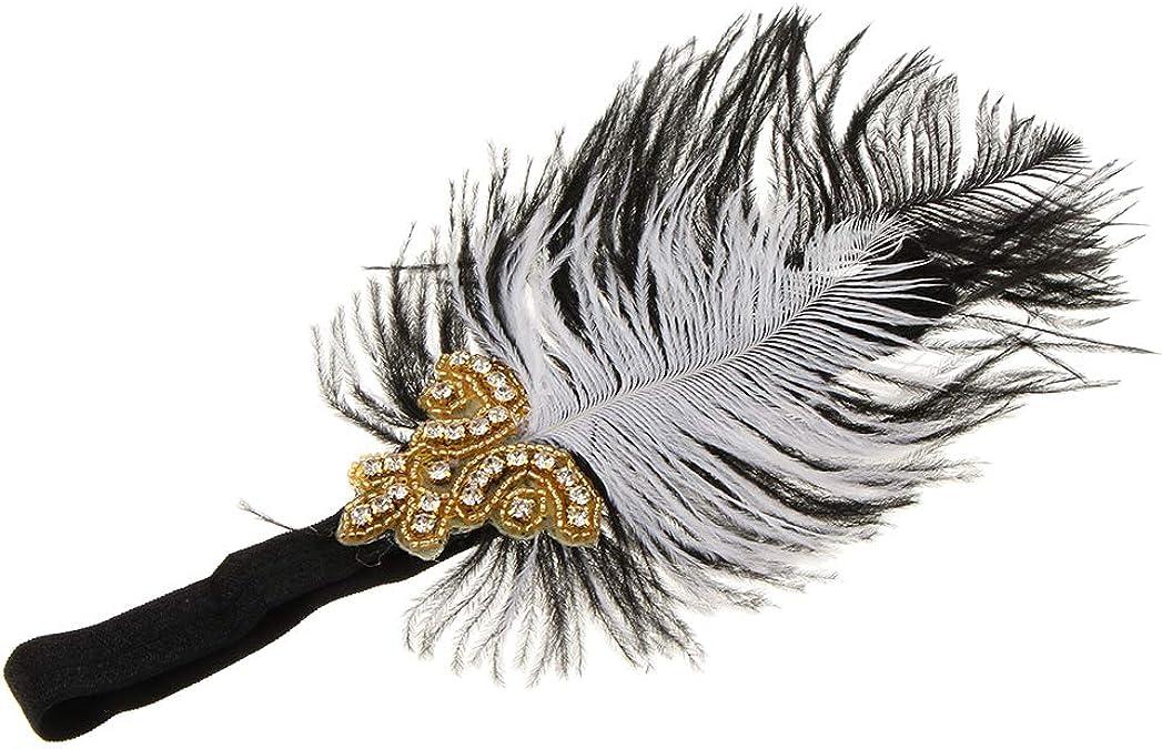 F Fityle Femme Serre-T/ête Plume /Élastique Accessoires de Cheveux 18 x 13cm