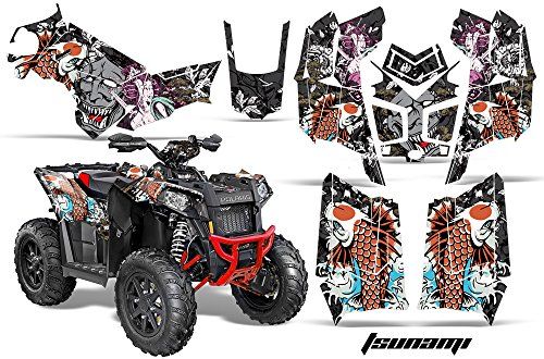 AMRRACING Polaris Scrambler 850 2013-2016 Full Custom UTV Graphics Decal Kit - Tsunami Black ()