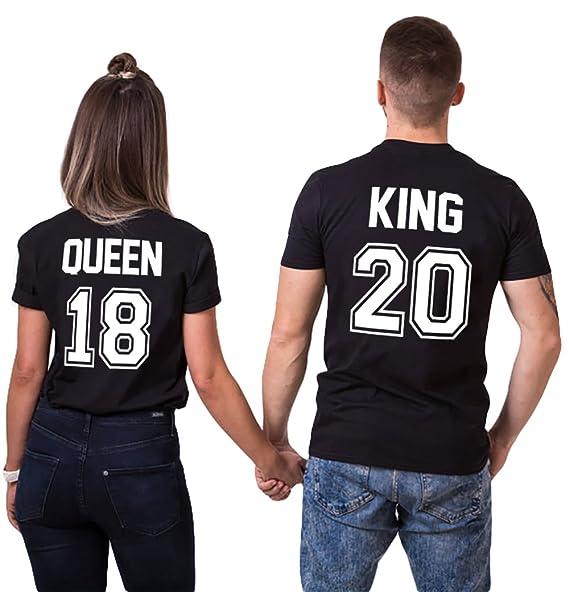 cdd243f3a0 Couple Shirts King Queen T Shirt Matching Set 100% Cotton Shirt for Men  WomenTee(