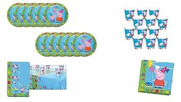 Peppa Pig 0463, Pack Desechables Fiesta y Cumpleaños, 12 Vasos, 12 Platos 23 cm, 20 servilletas y 1 Mantel 120x180 cms