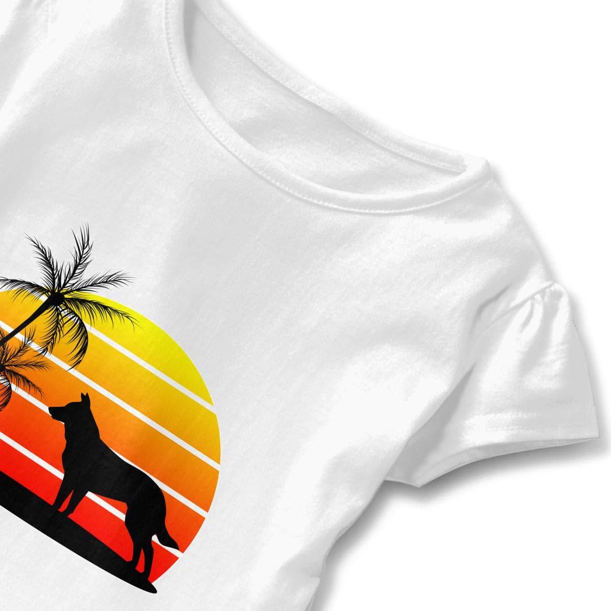 German Shepherd On Sunset Beach Toddler Girls T Shirt Kids Cotton Short Sleeve Ruffle Tee