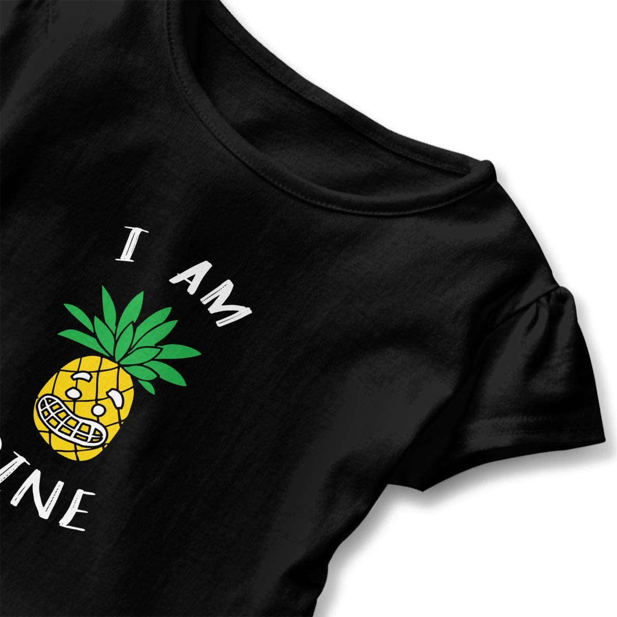 Funny Pineapple Toddler Baby Girls Cotton Ruffle Short Sleeve Top Comfortable T-Shirt 2-6T
