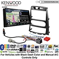 Volunteer Audio Kenwood Excelon DNX994S Double Din Radio Install Kit with GPS Navigation Apple CarPlay Android Auto Fits 2009-2012 Hyundai Genesis (Black) (Manual A/C controls)