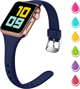 Nofeda Slim Band Compatible with Apple Watch 40mm 38mm, Narrow Thin Soft Silicone Sport Bands Replacement Strap for iWatch Series 5 4 3 2 1 Women Men, S/M, Navy Blue