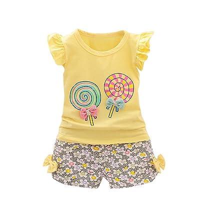 7c762e331de 2 Colors New 2Pcs Toddler Kids Baby Girls Outfits Lolly T-Shirt Tops+Short