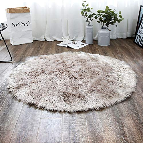 LEEVAN Plush Sheepskin Style Throw Rug Faux Fur Elegant Chic Style Cozy Shaggy Round Rug Floor Mat Area Rugs Home Decorator Super Soft Carpets Kids Play Rug, Coffee 3 ft Diameter (Chic Furniture)