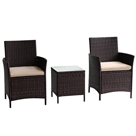 Transpearl 3 Pieces Rattan Furniture Set, Indoor Outdoor Use 2 Seats 1 Table All Weather Use Furniture Balcony Porch Furniture Dinning Table Set Conversation Set