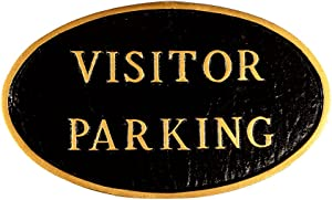 Montague Metal Products SP-20sm-BG Visitor Parking Oval Statement Plaque, Small, Black and Gold