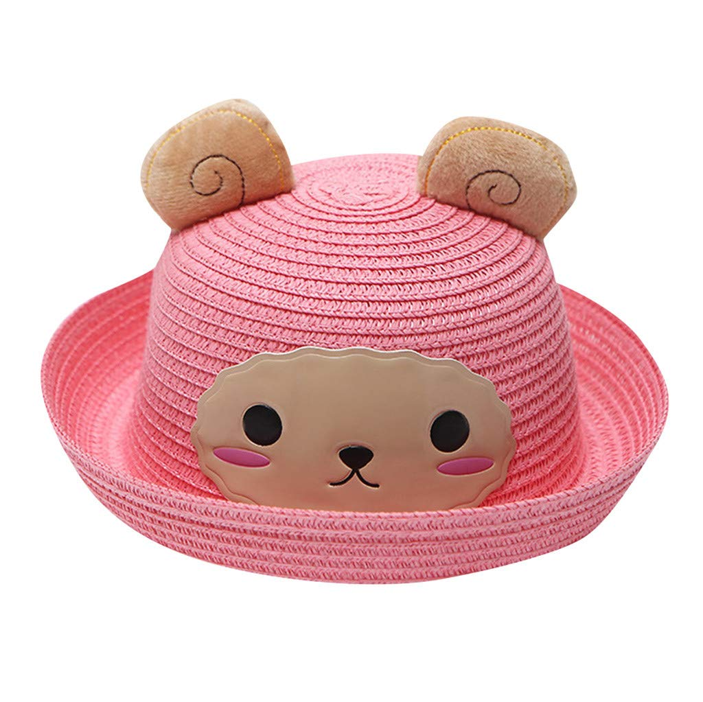 Little Kids Cartoon Straw Hat,Jchen Kids Baby Boys Girls Breathable Cartoon Sheep Hat Ears Straw Sun Protection Hats for 2-6 Y (Pink)