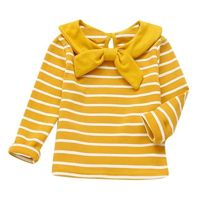 PAOLIAN Camisetas para Bebé Niñas Otoño Invierno Camisetas Manga Largas Estampado Rayas Blusas Bodies Ropa de