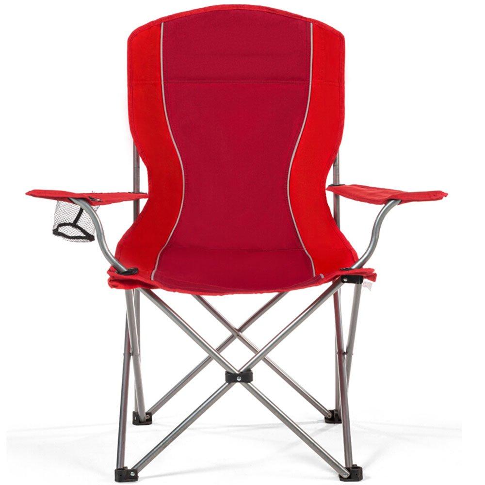 ベンチ 折りたたみチェアポータブル釣りビーチ背もたれレジャーアームレストキャンプ用ピクニックチェア (A++) (色 : 赤) B07DBPSR7W 赤 赤