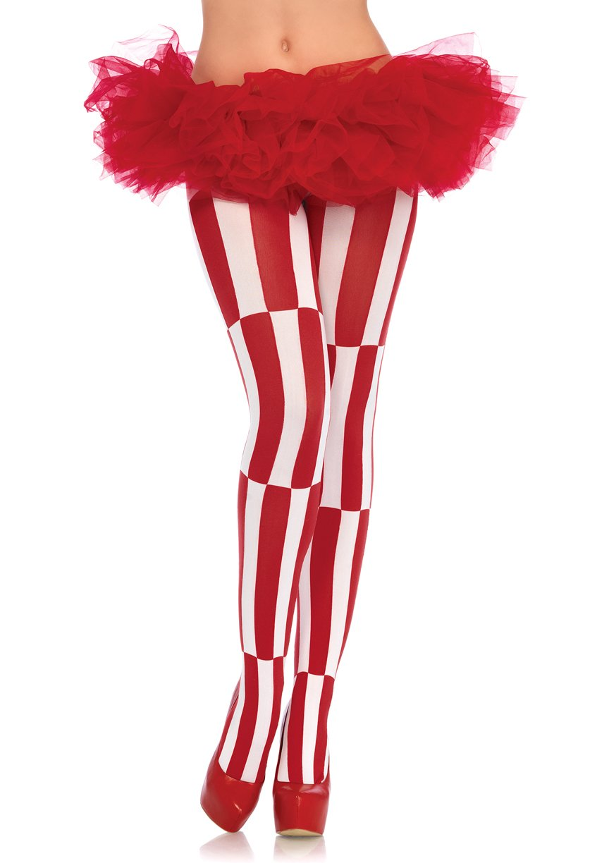 Leg Avenue Women's Woven Opaque Striped Optical Illusion Pantyhose WHRD, White/red, One Size by Leg Avenue (Image #1)
