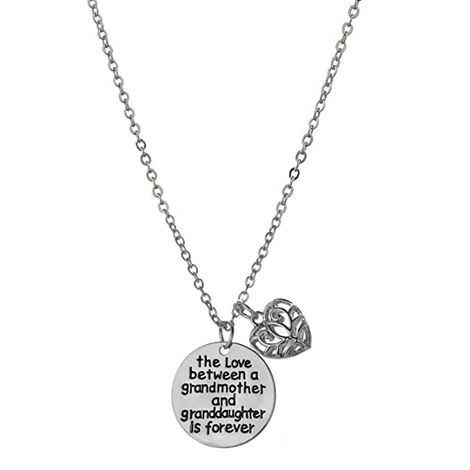 231c7a38e43b Amazon.com  Love between a Grandmother and Granddaughter is Forever Necklace  - Family Jewelry Gift - 18